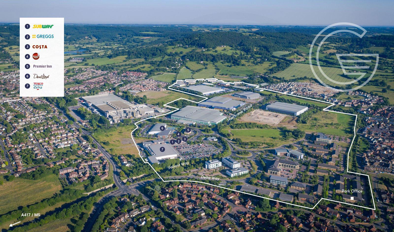 Gloucester Business Park occupier aerial